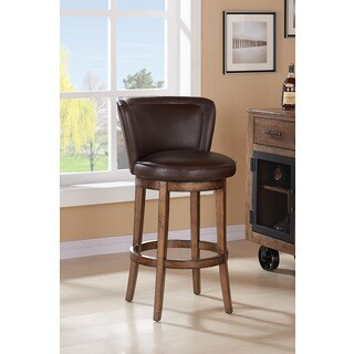 Armen Living Lisbon Swivel Wood Barstool in Chestnut Finish and Kahlua Pu