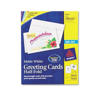 Avery Half-Fold Greeting Cards Inkjet 5 1/2 x 8 1/2 Matte White 30/Box with Envelopes|https://ak1.ostkcdn.com/images/products/13997201/P20620604.jpg?impolicy=medium