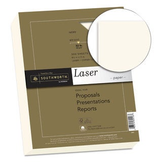 Southworth 25-percent Cotton Premium Laser Paper 32-pound Smooth 8 1/2 x 11 Ivory 300 Sheets