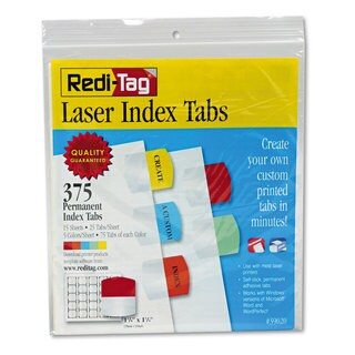 Redi-Tag Laser Printable Index Tabs 1 1/8 x 1 1/4 5 Colors 375/Pack