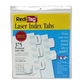 Redi-Tag Laser Printable Index Tabs 1 1/8 x 1 1/4 White 375/Pack