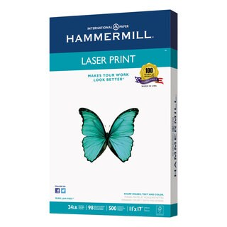 Hammermill Laser Print Office Paper 98 Brightness 24-pound 11 x 17 White 500 Sheets/Ream