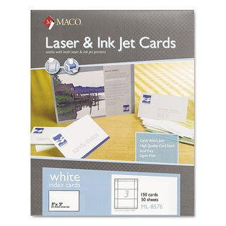 MACO Unruled Microperforated Laser/Ink Jet Index Cards 3 x 5 White 150/Box