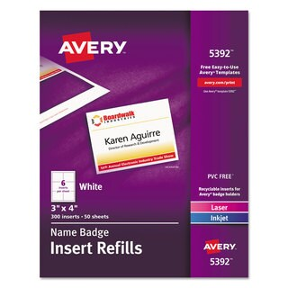 Avery Additional Laser/Inkjet Inserts 3 x 4 White 300/Box