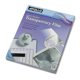 Apollo B/W Laser Transparency Film with o Sensing Stripe Letter Clear 50/Box