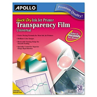 Apollo Color Inkjet QuickDry Transparency Film with Removable Stripe Letter Clear 50/Box