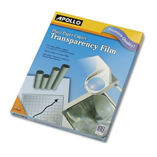 Apollo B/W Laser Transparency Film with o Sensing Stripe Letter Clear 100/Box