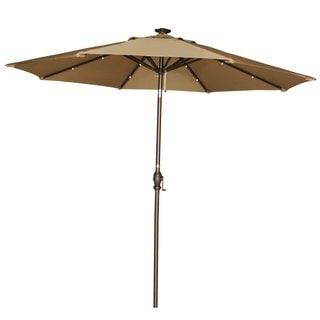 Abba Patio 9-Foot Brown Tilt/Crank Umbrella with Solar Powered LED Lights