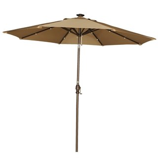 Abba Patio 9-Foot Brown Tilt/Crank Umbrella with Solar Powered LED Lights