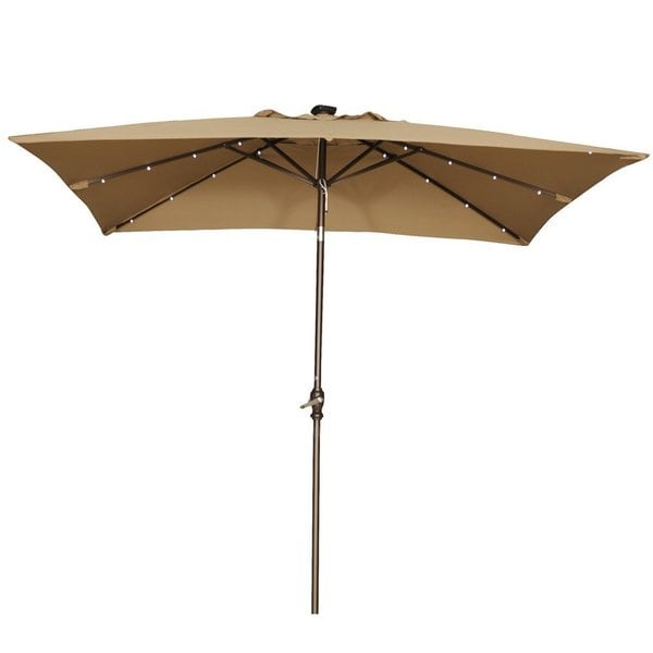 Abba 9 Foot Rectangular Brown Patio Umbrella With Solar Powered LED Lights