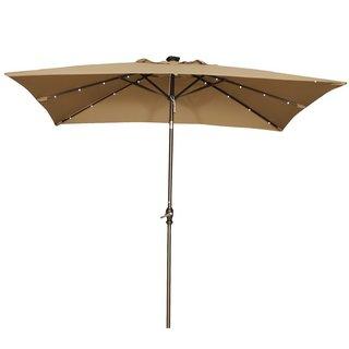 Abba 9-foot Rectangular Brown Patio Umbrella with Solar Powered LED Lights