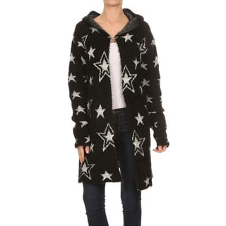 JED Women's Star Print Soft and Plush Hooded Cardigan