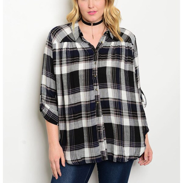 Jed women 39 s black and grey rayon plus size plaid button for Grey plaid shirt womens