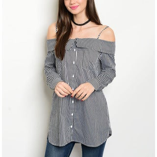 JED Women's Black and White Striped Cotton Off Shoulder Tunic Shirt