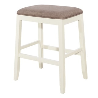 Powell Jane White Wood Upholstered Saddle Stool
