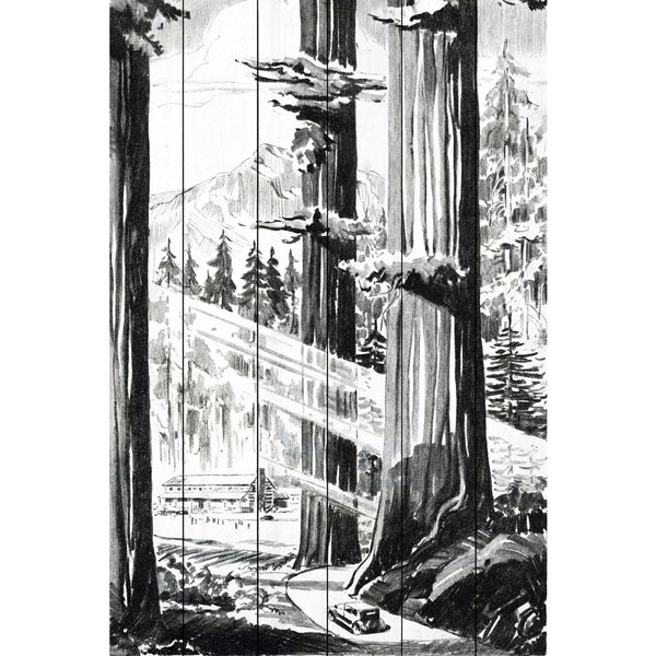 Marmont Hill - Handmade Redwoods Painting Print on White Wood
