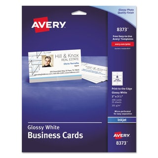 Avery Print-to-the-Edge Microperf Business Cards Inkjet 2x3 1/2 Wht Gloss 200/Box