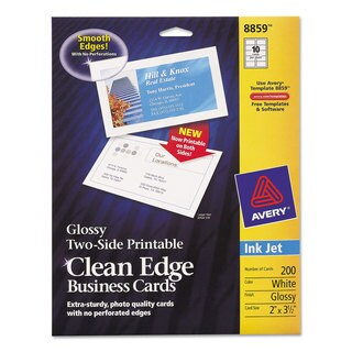 Avery Two-Sided Clean Edge Business Cards Inkjet 2 x 3 1/2 Glossy White 200/Pack