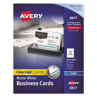 Avery Two-Side Printable Clean Edge Business Cards Inkjet 2 x 3 1/2 White 400/Box