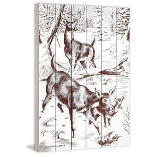 Marmont Hill - Handmade Deer Painting Print on White Wood