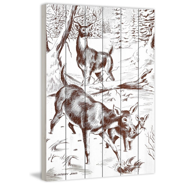 Marmont Hill - Handmade Deer Painting Print on White Wood