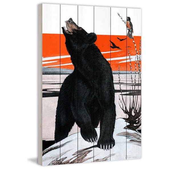 Marmont Hill - Handmade Spring Bear Painting Print on White Wood