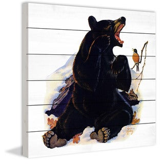 Marmont Hill - Handmade Bear Awakens Painting Print on White Wood