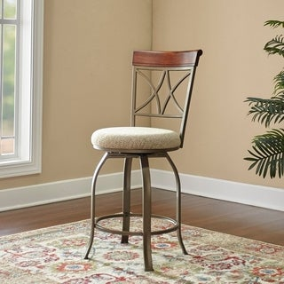Powell Hamilton Brown Metal/Faux-wood Swivel Counter Stool