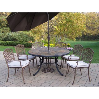 9 Pc Dining Set with Stone Top Table, 6 Chairs, Umbrella and Stand