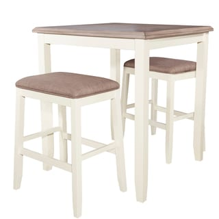 Powell Jane White Wood Pub Table and Upholstered Set
