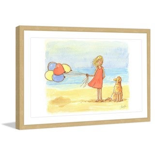 Marmont Hill - 'Windy Beach' by Phyllis Harris Framed Painting Print