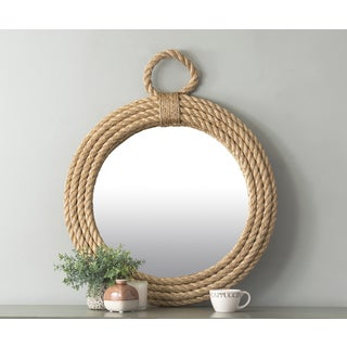 East At Main's Hass Brown Round Jute Wall Mirror