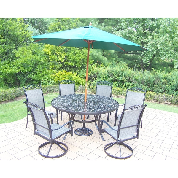 Shop 9 Pc Dining Set with Table, 2 Swivels, 4 Chairs, Umbrella and ...