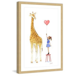 Marmont Hill - 'Giraffe and Girl' by Phyllis Harris Framed Painting Print