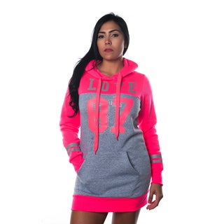 Special One Women's Casual Applique-embellished Hoodie Sweatshirt Mini Dress