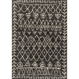 Brently Black/ Ivory Abstract Rug (3'10 x 5'7)