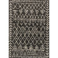 Brently Black/ Ivory Abstract Rug - 3'10 x 5'7
