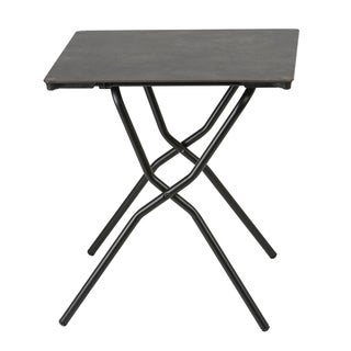 Lafuma Anytime Black Steel Frame Square Folding Table with Volcanic Finish Table Top