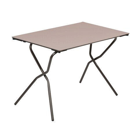 Lafuma Anytime Brown Steel Frame Rectangle Folding Table with Taupe Finish Table Top