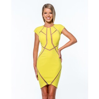 Terani Couture Black/Yellow Cap Sleeve Cocktail Dress