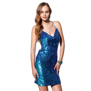 Terani Couture Blue Short Sequined Prom Gown