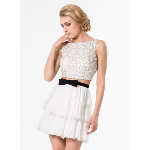 Terani Couture White 2-piece Beaded Cropped Top and Chiffon Skirt Homecoming Dress