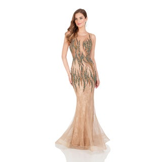Terani Couture Sheer Illusion Tan Pageant Gown