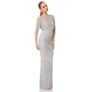 Terani Couture Pearl Beaded Swirling Lace Mother of the Bride Dress