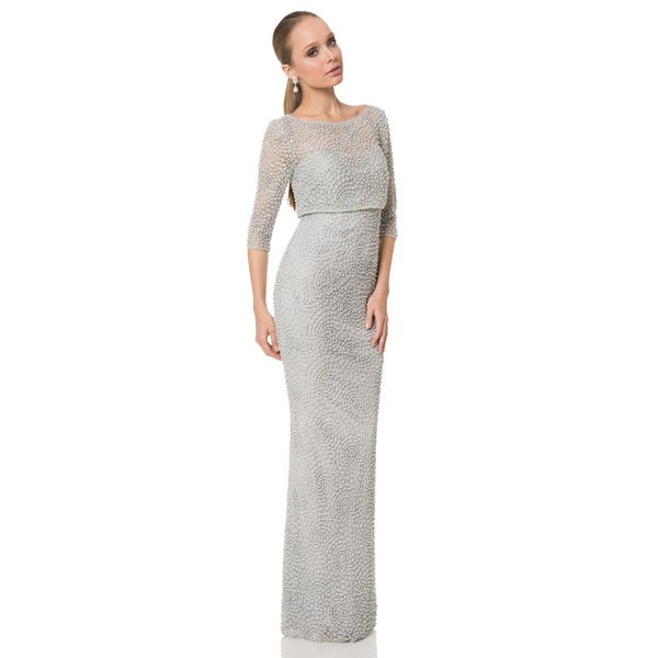 e519ff9d97 Terani Couture Pearl Beaded Swirling Lace Mother of the Bride Dress