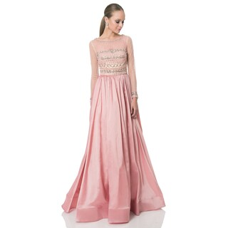 Terani Couture Pink Long Taffeta Mother of the Bride Gown