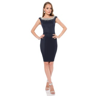 Terani Couture Women's Elegant Fitted Short Blue Cocktail Dress