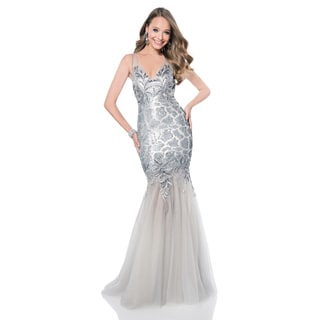 Terani Couture Sheer Silver V-neck Pageant Gown