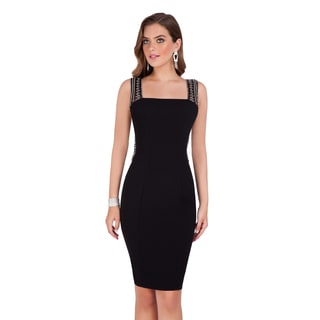 Terani Couture Black Delicately Beaded Cocktail Dress
