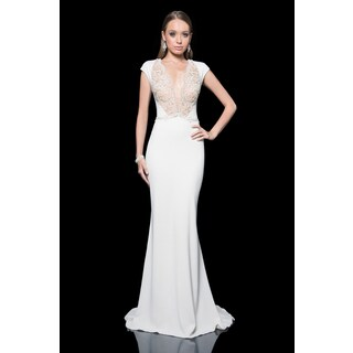 Terani Couture Cap Sleeve Stretch Crepe Gown